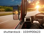truck dashboard with driver's... | Shutterstock . vector #1034900623