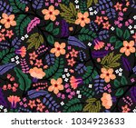 elegant floral pattern in small ... | Shutterstock .eps vector #1034923633
