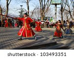 SEOUL, SOUTH KOREA - MARCH 22: Change of guards at the park in front of N Seoul Tower on March 22,2012 in Seoul, Korea. - stock photo