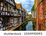 medieval half timber houses and ... | Shutterstock . vector #1034950093
