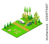 isometric camper and sports... | Shutterstock .eps vector #1034975407