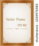 golden vintage wood frame ... | Shutterstock .eps vector #1034976583