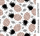 seamless pattern of pineapple.... | Shutterstock .eps vector #1034987797