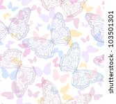 Seamless background with butterflies - stock vector