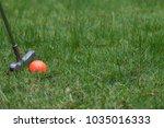 orange golf ball and putter on... | Shutterstock . vector #1035016333