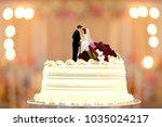 wedding cake bride and groom... | Shutterstock . vector #1035024217