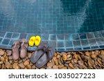 three pairs of flip flops of... | Shutterstock . vector #1035027223