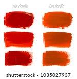 vector crimson red paint smear... | Shutterstock .eps vector #1035027937