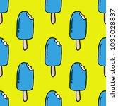 ice cream seamless doodle... | Shutterstock .eps vector #1035028837