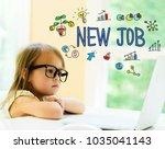 new job text with little girl... | Shutterstock . vector #1035041143