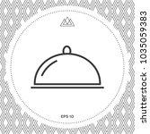 restaurant steel serving tray.... | Shutterstock .eps vector #1035059383