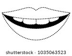 sensuality lips with teeth | Shutterstock .eps vector #1035063523