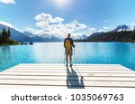hike to turquoise waters of... | Shutterstock . vector #1035069763