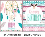 happy birthday card with boho... | Shutterstock .eps vector #1035075493