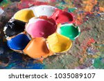 used art palette on abstract... | Shutterstock . vector #1035089107