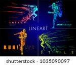 art concept of a running man.... | Shutterstock .eps vector #1035090097
