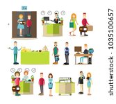 illustration of hotel workers... | Shutterstock . vector #1035100657