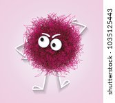 fluffy cute pink spherical... | Shutterstock .eps vector #1035125443