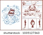 restaurant cafe seafood menu ... | Shutterstock .eps vector #1035127363