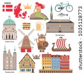 Set with architecture, national flag, mermaid, map and other Denmark symbols in flat style. Vector illustration