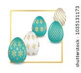 standing easter eggs with ... | Shutterstock .eps vector #1035131173