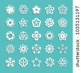 big set of paper flowers on the ... | Shutterstock .eps vector #1035131197