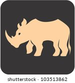 Creative Rhino Icon - stock vector