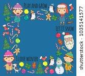 children and winter games   ski ... | Shutterstock .eps vector #1035141577