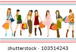 set of shopping girl collection ... | Shutterstock .eps vector #103514243