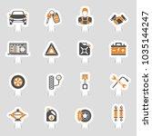 car service icons sticker set... | Shutterstock .eps vector #1035144247