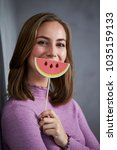 Small photo of Beautiful babe with watermelon smile, portrait