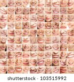Collage, made of many different smiles - stock photo