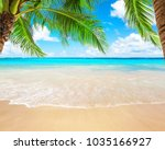 coconut palm trees against blue ... | Shutterstock . vector #1035166927