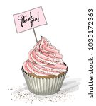 cupcake with pink cream and... | Shutterstock .eps vector #1035172363