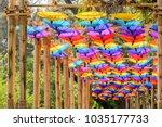 fancy umbrella  made from... | Shutterstock . vector #1035177733