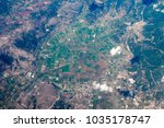 green agro fields from airplane ... | Shutterstock . vector #1035178747