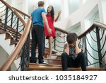 the boy sit on the stairs at... | Shutterstock . vector #1035184927