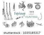 set of hunting and fishing... | Shutterstock .eps vector #1035185317