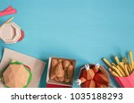 fast food burger components... | Shutterstock . vector #1035188293