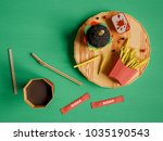 fast food background concept... | Shutterstock . vector #1035190543