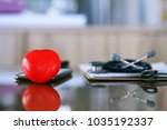 red heart shape and doctor... | Shutterstock . vector #1035192337