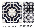 vintage tiles patterns antique... | Shutterstock .eps vector #1035198733