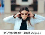 stressed business woman with... | Shutterstock . vector #1035201187