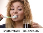 funny woman holding black... | Shutterstock . vector #1035205687