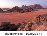 Wadi Rum desert landscape,Jordan - stock photo