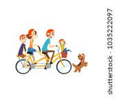 happy family riding on long... | Shutterstock .eps vector #1035222097