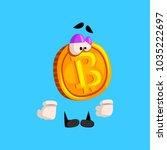 funny upset bitcoin character ...   Shutterstock .eps vector #1035222697