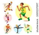 health sport and wellness flat... | Shutterstock .eps vector #1035237097