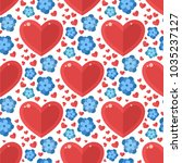 red heart flowers vector... | Shutterstock .eps vector #1035237127