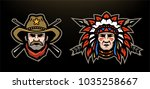 head of cowboy and indian on a...   Shutterstock . vector #1035258667
